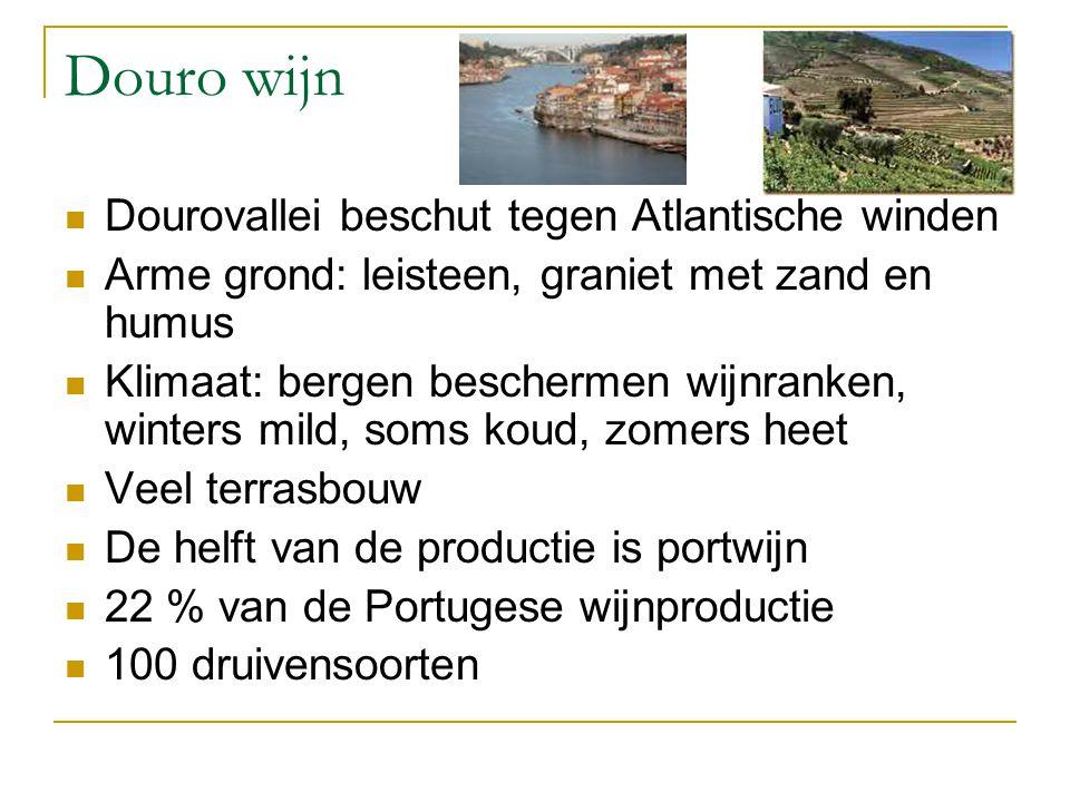 Douro wijn Dourovallei beschut tegen Atlantische winden Arme grond: leisteen, graniet met zand en humus Klimaat: bergen beschermen wijnranken, winters mild, soms koud, zomers heet Veel terrasbouw De helft van de productie is portwijn 22 % van de Portugese wijnproductie 100 druivensoorten