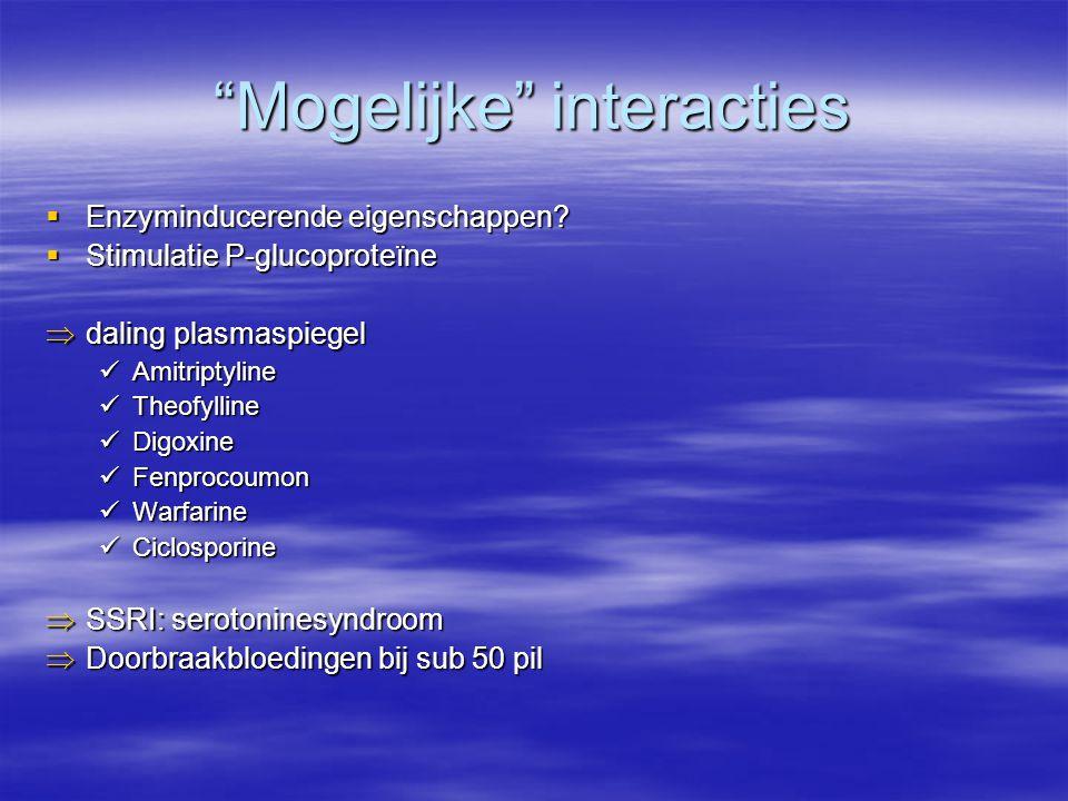 """""""Mogelijke"""" interacties  Enzyminducerende eigenschappen?  Stimulatie P-glucoproteïne  daling plasmaspiegel Amitriptyline Amitriptyline Theofylline"""