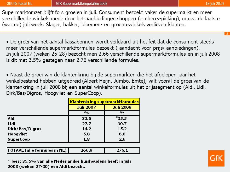 4 GfK PS Retail NLGfK Supermarktkengetallen 200818 juli 2014 Ontwikkeling klantenkringen buiten supermarkten (2004, 2005, 2006, 2007, MAT Q2 2008) De slager, bakker, bloemen- en groentewinkels hebben ook het afgelopen jaar klandizie verloren.