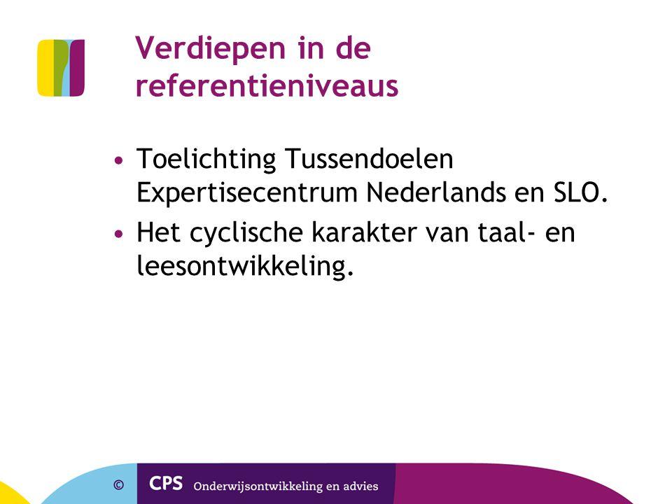 Verdiepen in de referentieniveaus Toelichting Tussendoelen Expertisecentrum Nederlands en SLO. Het cyclische karakter van taal- en leesontwikkeling.