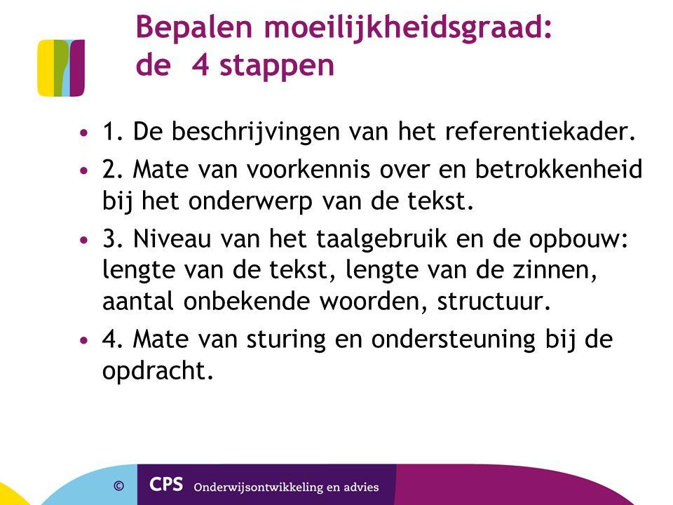 Bepalen moeilijkheidsgraad: de 4 stappen 1. De beschrijvingen van het referentiekader. 2. Mate van voorkennis over en betrokkenheid bij het onderwerp