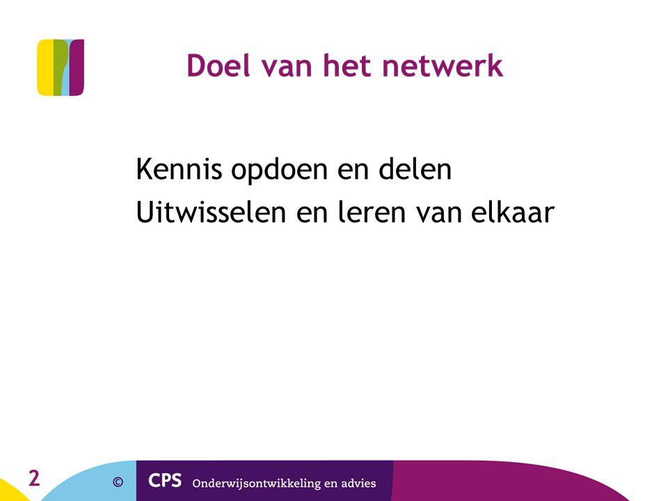 2 Doel van het netwerk Kennis opdoen en delen Uitwisselen en leren van elkaar