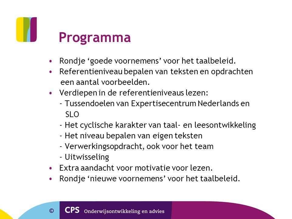 Programma Rondje 'goede voornemens' voor het taalbeleid. Referentieniveau bepalen van teksten en opdrachten een aantal voorbeelden. Verdiepen in de re