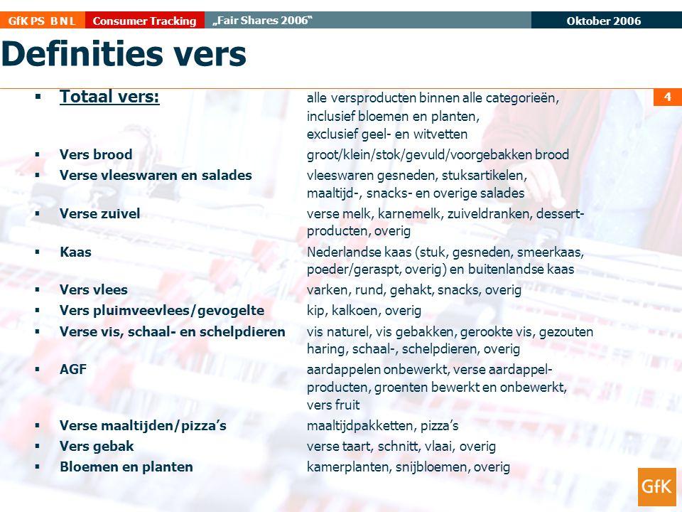 "Oktober 2006 Consumer TrackingGfK PS B N L ""Fair Shares 2006"" 4 Definities vers  Totaal vers: alle versproducten binnen alle categorieën, inclusief b"