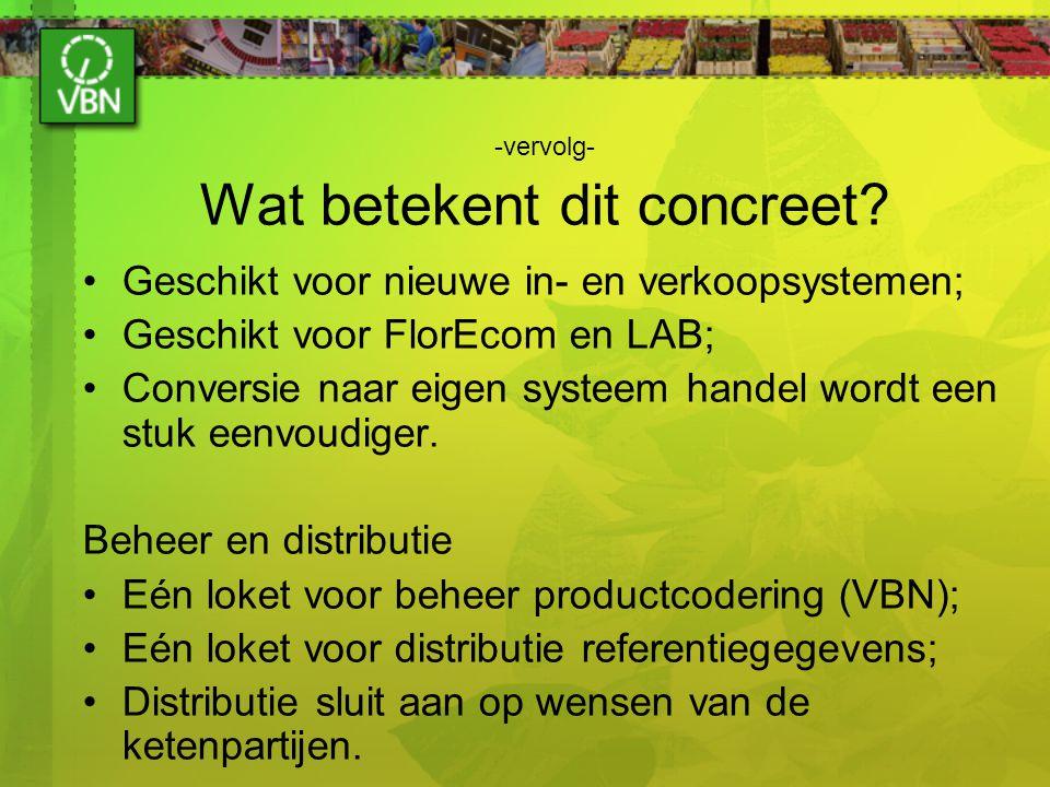-vervolg- Wat betekent dit concreet? Geschikt voor nieuwe in- en verkoopsystemen; Geschikt voor FlorEcom en LAB; Conversie naar eigen systeem handel w
