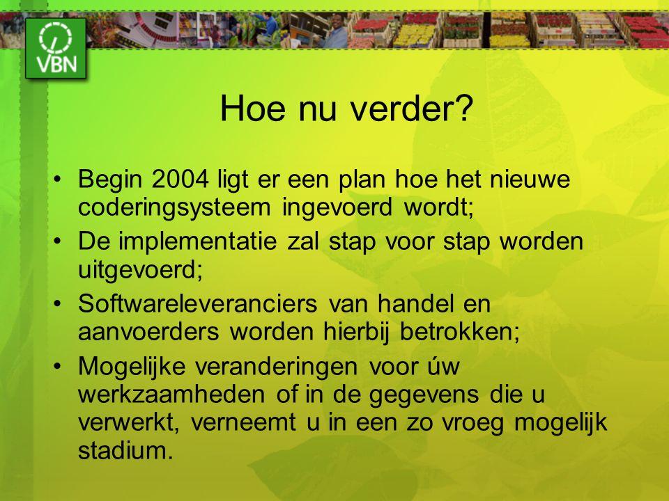 Hoe nu verder? Begin 2004 ligt er een plan hoe het nieuwe coderingsysteem ingevoerd wordt; De implementatie zal stap voor stap worden uitgevoerd; Soft