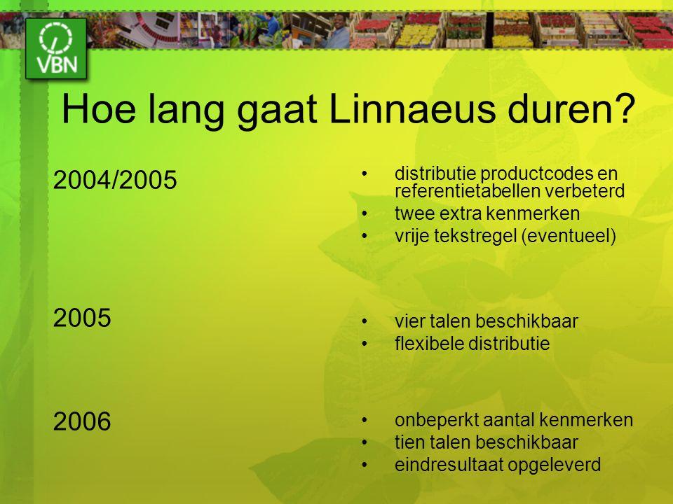 Hoe lang gaat Linnaeus duren? 2004/2005 2005 2006 distributie productcodes en referentietabellen verbeterd twee extra kenmerken vrije tekstregel (even