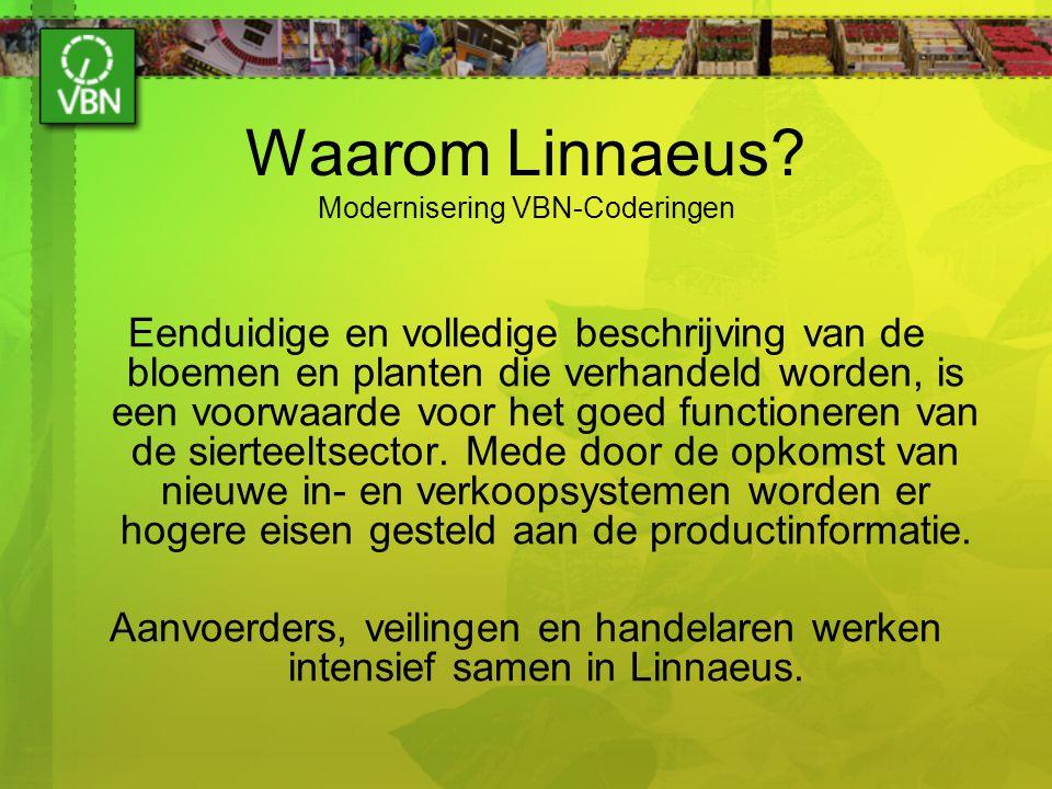 Waarom Linnaeus? Modernisering VBN-Coderingen Eenduidige en volledige beschrijving van de bloemen en planten die verhandeld worden, is een voorwaarde