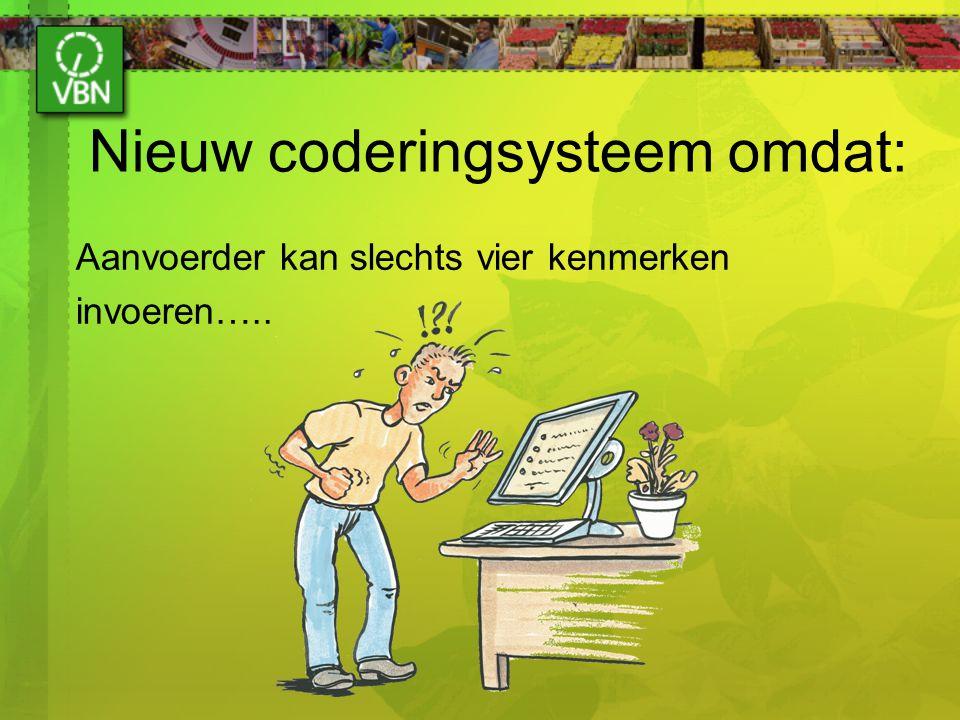 Nieuw coderingsysteem omdat: Aanvoerder kan slechts vier kenmerken invoeren…..