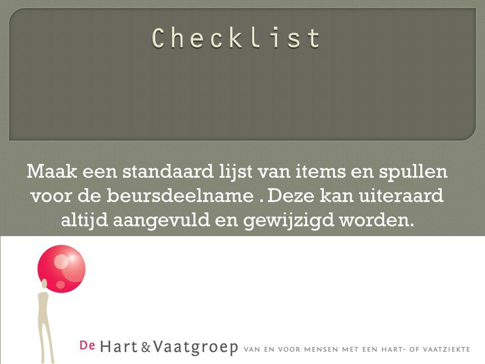 Maak een standaard lijst van items en spullen voor de beursdeelname.