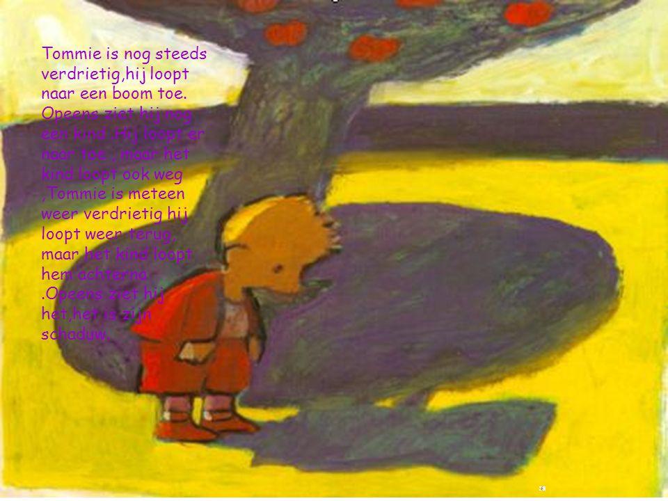 Tommie is nog steeds verdrietig,hij loopt naar een boom toe. Opeens ziet hij nog een kind.Hij loopt er naar toe, maar het kind loopt ook weg,Tommie is