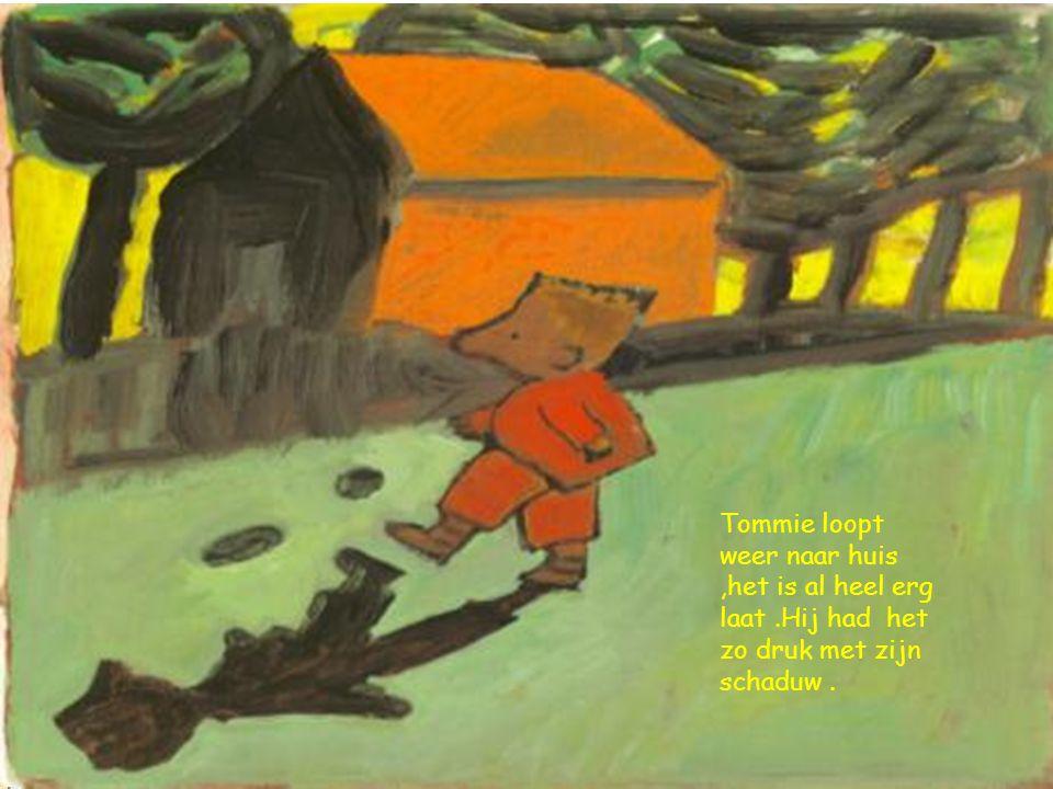 Tommie loopt weer naar huis,het is al heel erg laat.Hij had het zo druk met zijn schaduw.