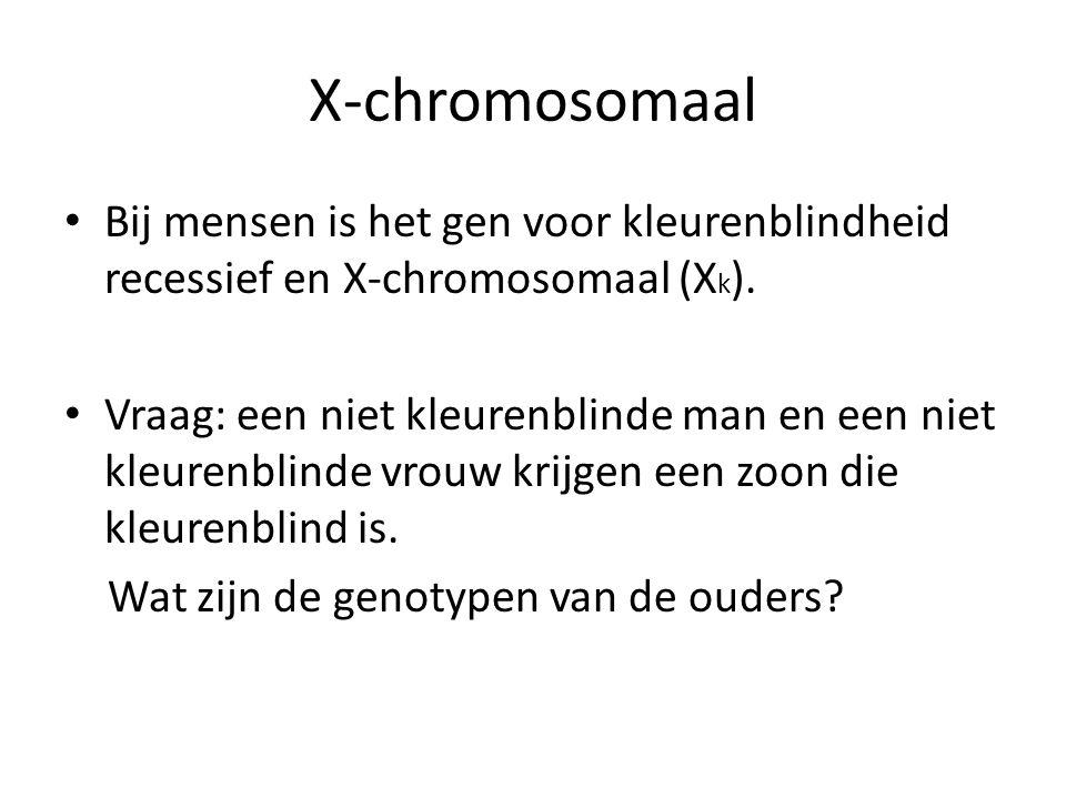 X-chromosomaal Bij mensen is het gen voor kleurenblindheid recessief en X-chromosomaal (X k ). Vraag: een niet kleurenblinde man en een niet kleurenbl