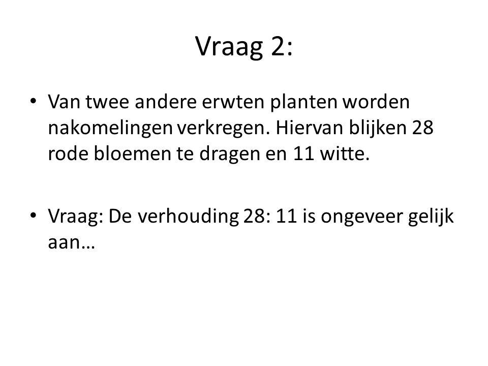 Vraag 2: Van twee andere erwten planten worden nakomelingen verkregen. Hiervan blijken 28 rode bloemen te dragen en 11 witte. Vraag: De verhouding 28: