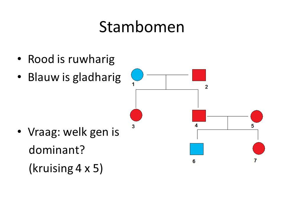Stambomen Rood is ruwharig Blauw is gladharig Vraag: welk gen is dominant? (kruising 4 x 5)