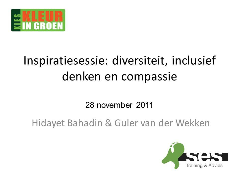 Programma 15.00-15.45 Inloop 15.45-16.30 Diversiteit & Inclusief denken 16.30-16.45 Pauze 16.45-17.00Diversiteit & Compassie 17.00-18.00Ronde tafel gesprek 18.00-20.00Diner
