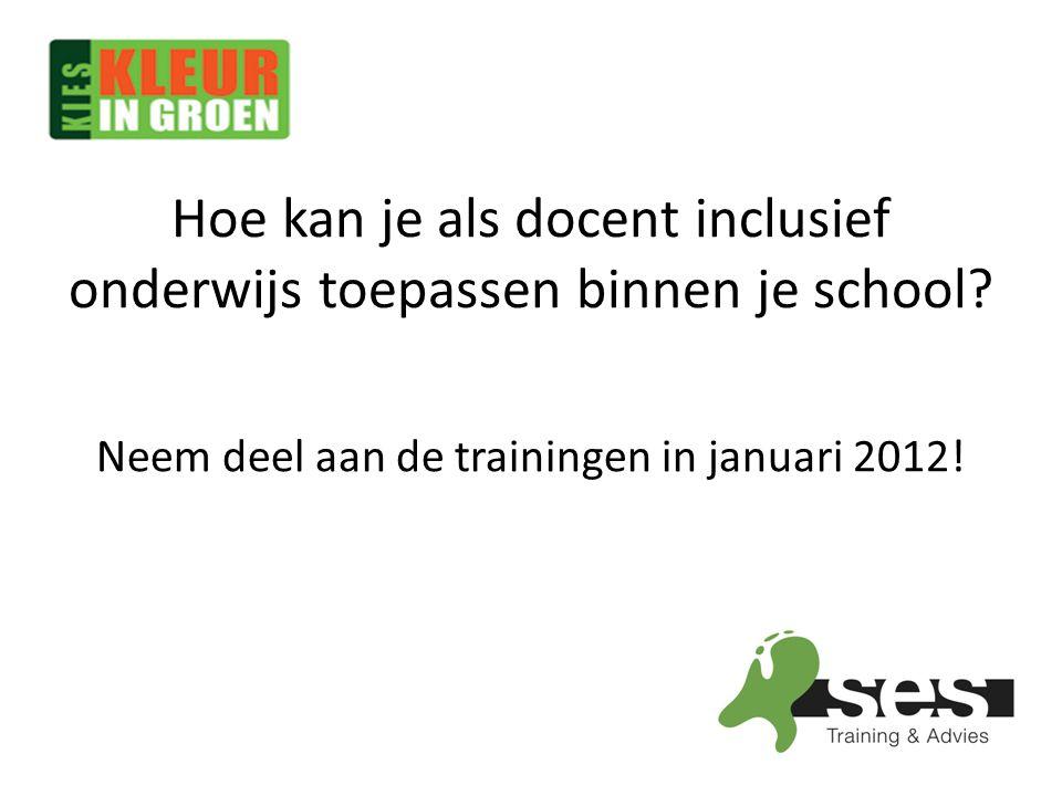 Hoe kan je als docent inclusief onderwijs toepassen binnen je school? Neem deel aan de trainingen in januari 2012!