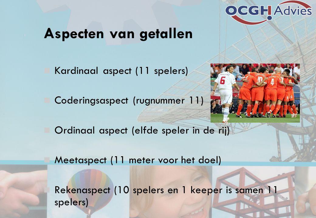 Aspecten van getallen Kardinaal aspect (11 spelers) Coderingsaspect (rugnummer 11) Ordinaal aspect (elfde speler in de rij) Meetaspect (11 meter voor