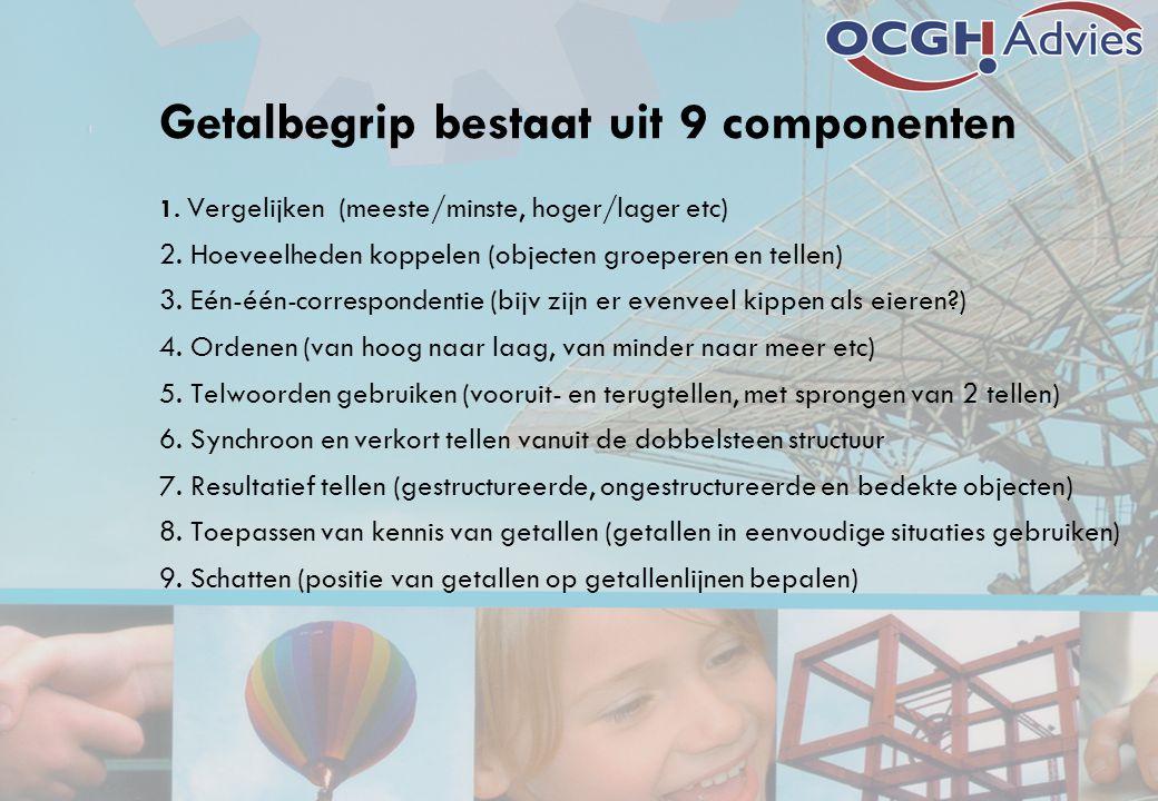 Getalbegrip bestaat uit 9 componenten 1. Vergelijken (meeste/minste, hoger/lager etc) 2. Hoeveelheden koppelen (objecten groeperen en tellen) 3. Eén-é