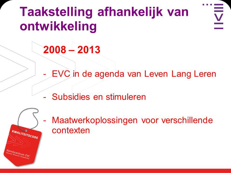 Taakstelling afhankelijk van ontwikkeling 2008 – 2013 -EVC in de agenda van Leven Lang Leren -Subsidies en stimuleren -Maatwerkoplossingen voor verschillende contexten