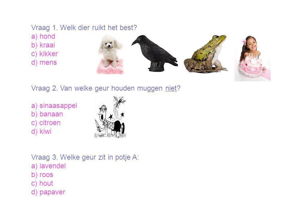 Vraag 1. Welk dier ruikt het best? a) hond b) kraai c) kikker d) mens Vraag 2. Van welke geur houden muggen niet? a) sinaasappel b) banaan c) citroen