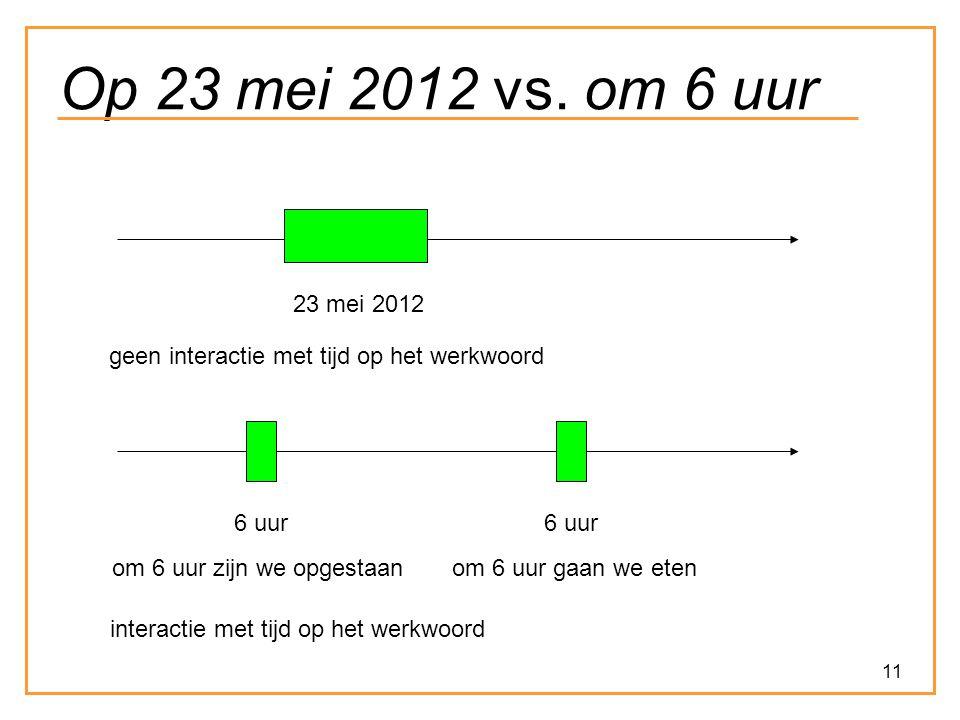 11 Op 23 mei 2012 vs. om 6 uur 23 mei 2012 geen interactie met tijd op het werkwoord 6 uur om 6 uur zijn we opgestaanom 6 uur gaan we eten interactie