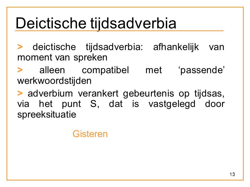 13 Deictische tijdsadverbia > deictische tijdsadverbia: afhankelijk van moment van spreken > alleen compatibel met 'passende' werkwoordstijden > adver