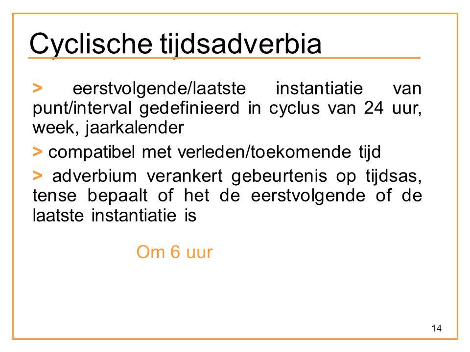 14 Cyclische tijdsadverbia > eerstvolgende/laatste instantiatie van punt/interval gedefinieerd in cyclus van 24 uur, week, jaarkalender > compatibel m