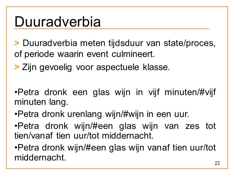22 Duuradverbia > Duuradverbia meten tijdsduur van state/proces, of periode waarin event culmineert. > Zijn gevoelig voor aspectuele klasse. Petra dro