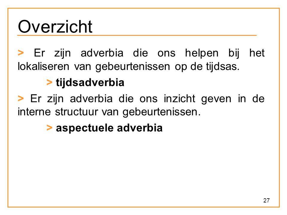 27 Overzicht > Er zijn adverbia die ons helpen bij het lokaliseren van gebeurtenissen op de tijdsas. > tijdsadverbia > Er zijn adverbia die ons inzich