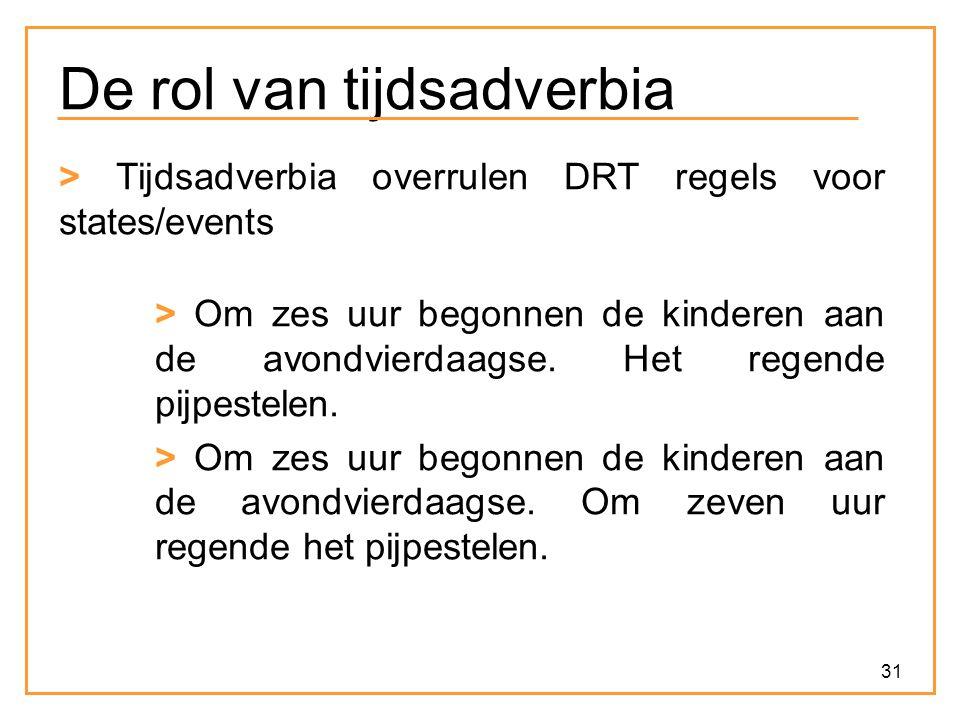 31 De rol van tijdsadverbia > Tijdsadverbia overrulen DRT regels voor states/events > Om zes uur begonnen de kinderen aan de avondvierdaagse. Het rege