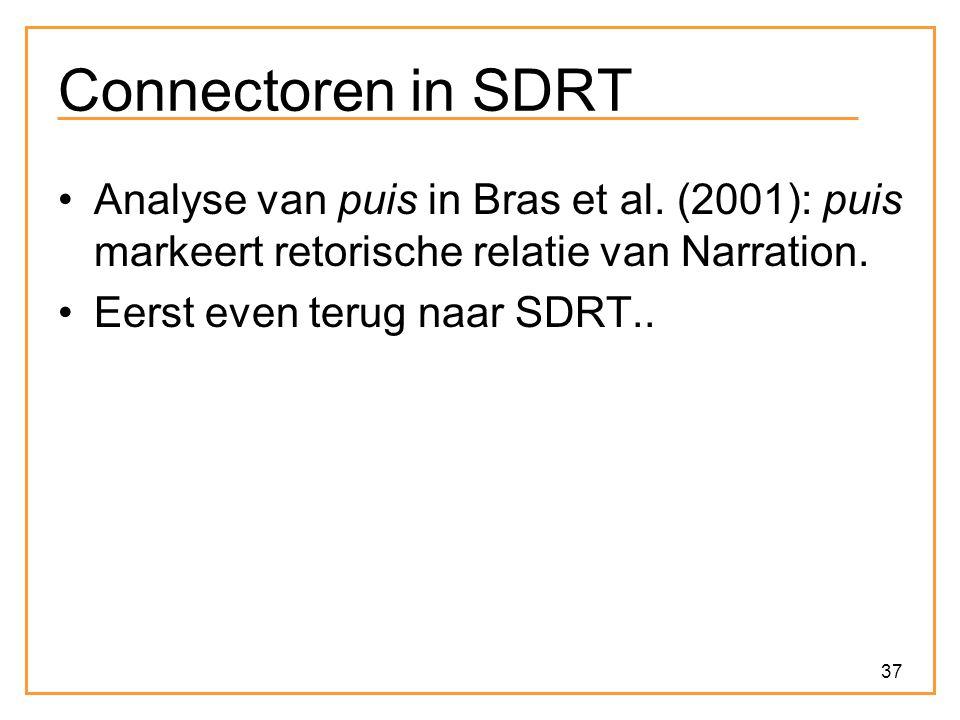 37 Connectoren in SDRT Analyse van puis in Bras et al. (2001): puis markeert retorische relatie van Narration. Eerst even terug naar SDRT..