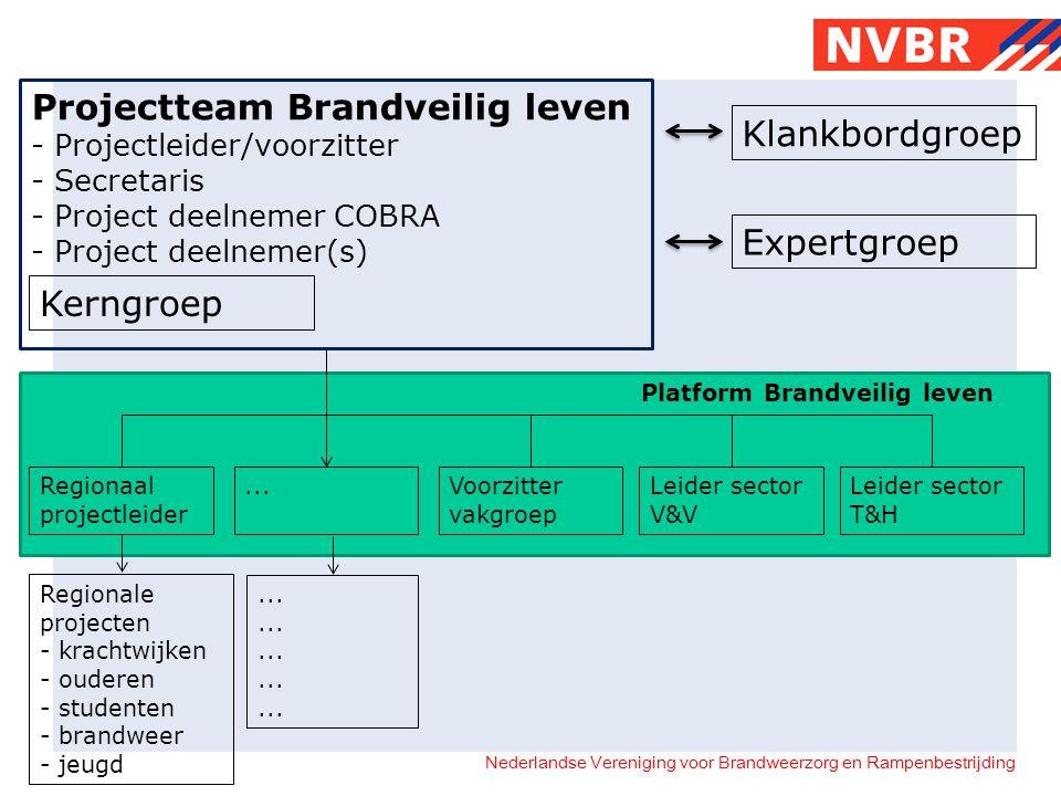 Nederlandse Vereniging voor Brandweerzorg en Rampenbestrijding Projectteam Brandveilig leven - Projectleider/voorzitter - Secretaris - Project deelnem