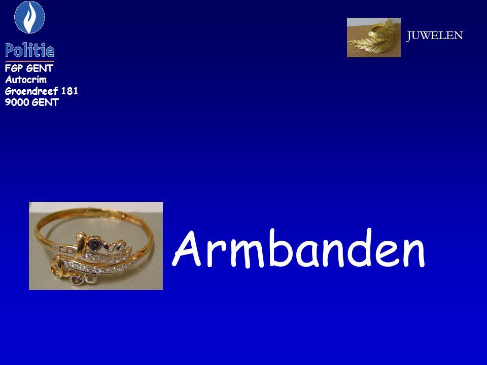 ZR 286: armband van geelgouden kleur FGP GENT Autocrim Groendreef 181 9000 GENT