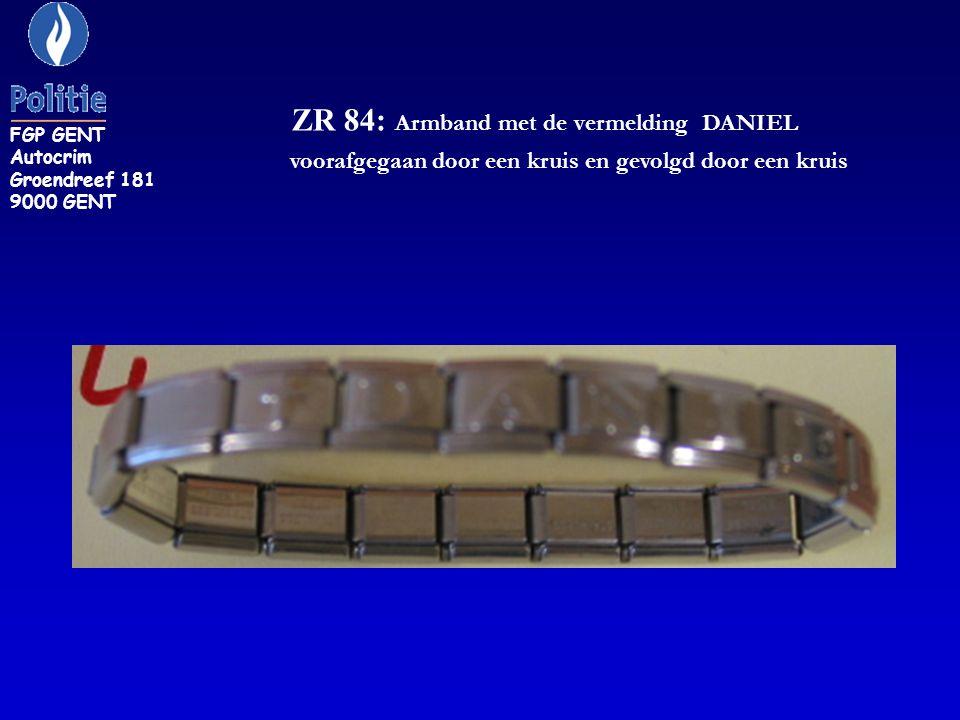 ZR 115: armband, schakels belegd met grote blauwe stenen FGP GENT Autocrim Groendreef 181 9000 GENT