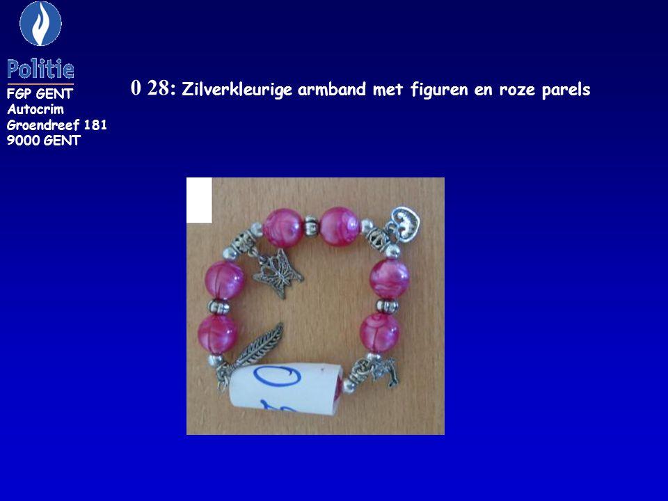 ZR 116: armband versierd met rode pepertjes en verschillende muntstukken FGP GENT Autocrim Groendreef 181 9000 GENT