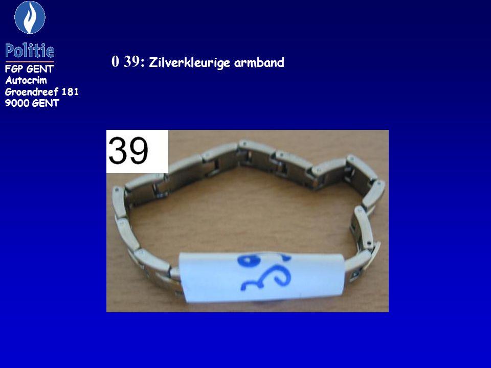 FGP GENT Autocrim Groendreef 181 9000 GENT ZR 42/J: geelgouden armband versierd met diverse stenen