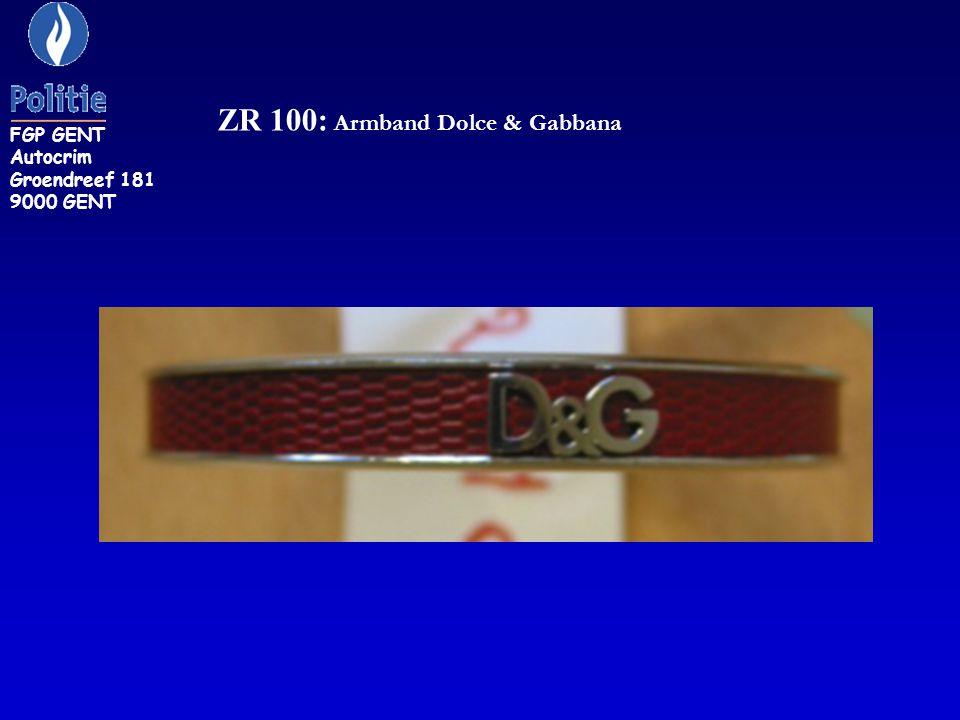 ZR 249: armband, buitenzijde rode kleur, binnenzijde geelgouden kleur FGP GENT Autocrim Groendreef 181 9000 GENT