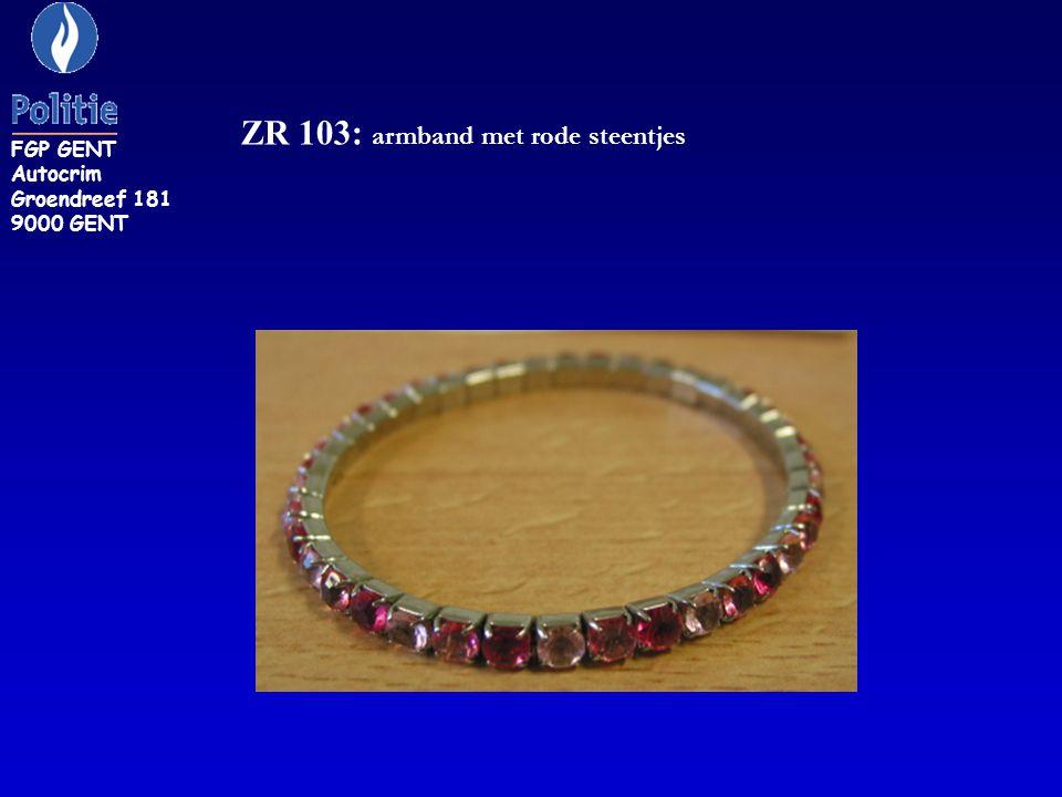 0ZR 104: brede armband, zilverkleurig FGP GENT Autocrim Groendreef 181 9000 GENT