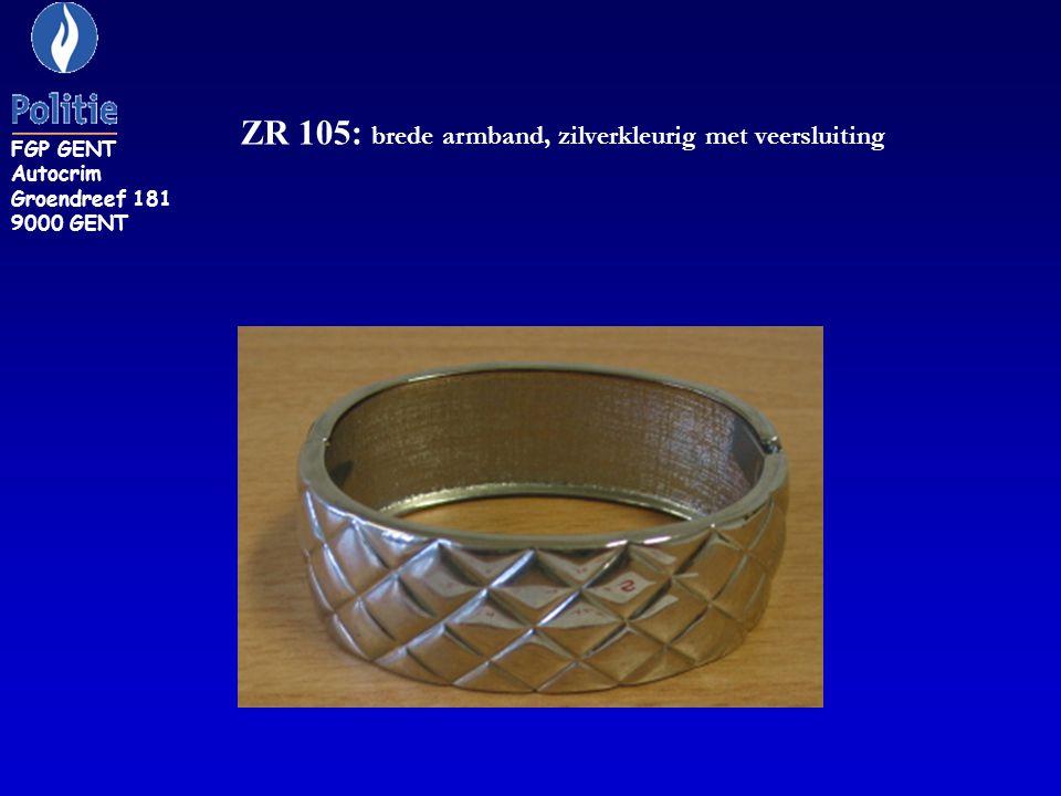 ZR 129: zilverkleurige armband bezet met steentjes FGP GENT Autocrim Groendreef 181 9000 GENT