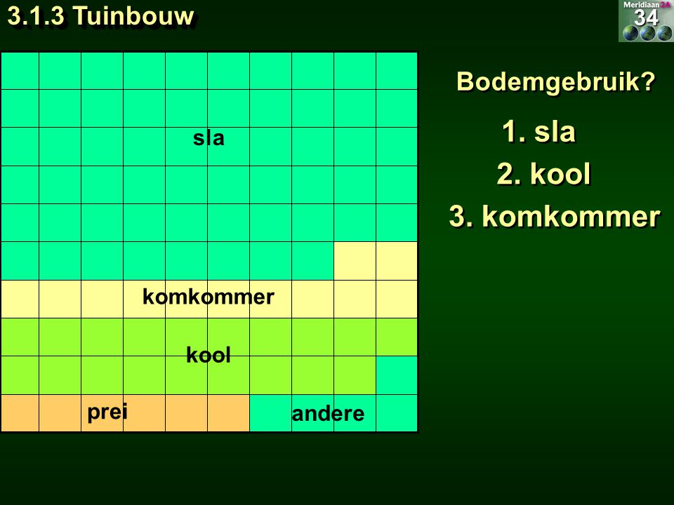 Bodemgebruik? 1. sla 2. kool 3. komkommer 34 3.1.3 Tuinbouw