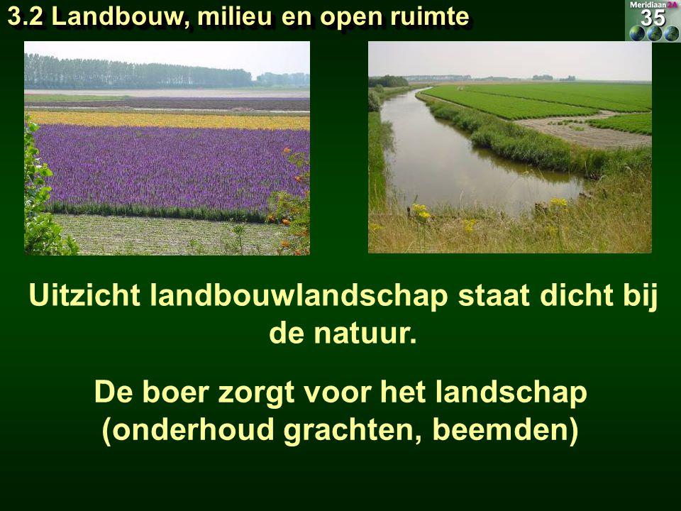 Uitzicht landbouwlandschap staat dicht bij de natuur. De boer zorgt voor het landschap (onderhoud grachten, beemden)35 3.2 Landbouw, milieu en open ru
