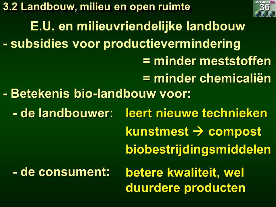 kunstmest  compost E.U. en milieuvriendelijke landbouw - subsidies voor productievermindering = minder meststoffen = minder chemicaliën - Betekenis b
