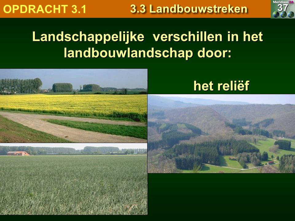 het reliëf 7.1.1 Natuurlandschappen OPDRACHT 3.1 3.3 Landbouwstreken 37 Landschappelijke verschillen in het landbouwlandschap door: