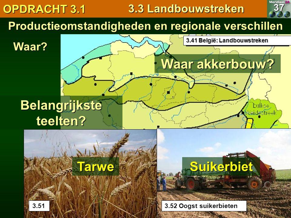 Productieomstandigheden en regionale verschillen Waar akkerbouw? 3.41 België: Landbouwstreken 37Waar? Belangrijkste teelten? OPDRACHT 3.1 3.3 Landbouw