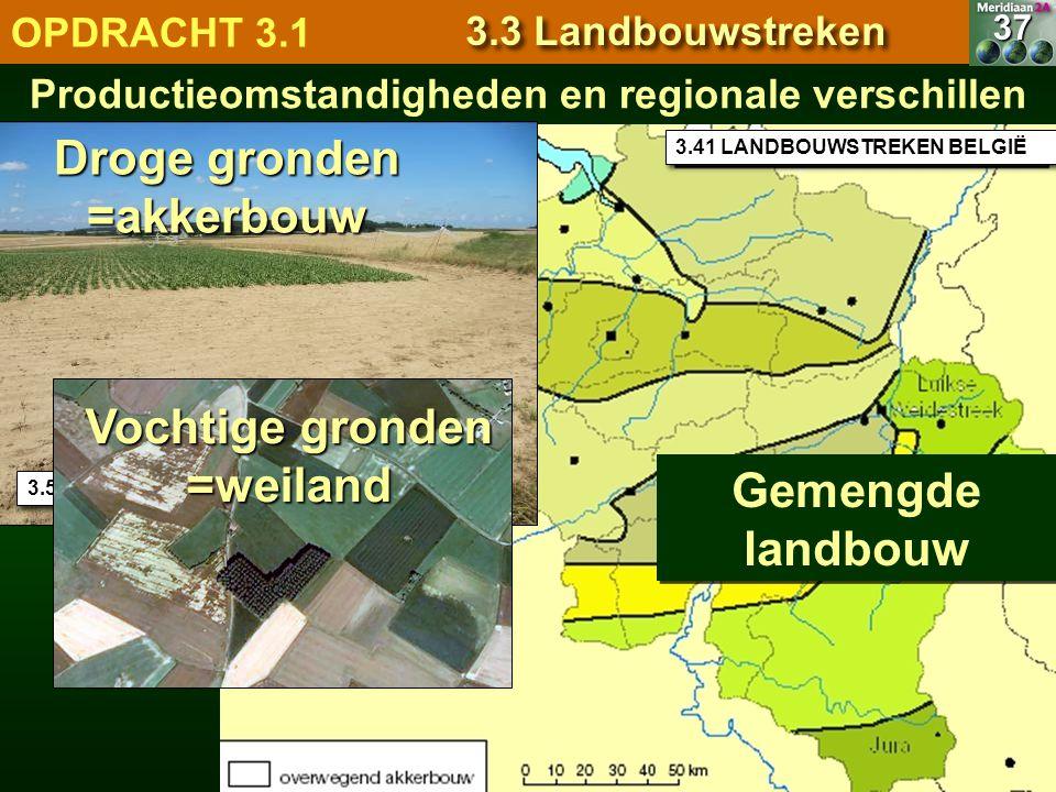 3.41 LANDBOUWSTREKEN BELGIË Productieomstandigheden en regionale verschillen37 OPDRACHT 3.1 3.3 Landbouwstreken Gemengde landbouw 3.53 Droge gronden =