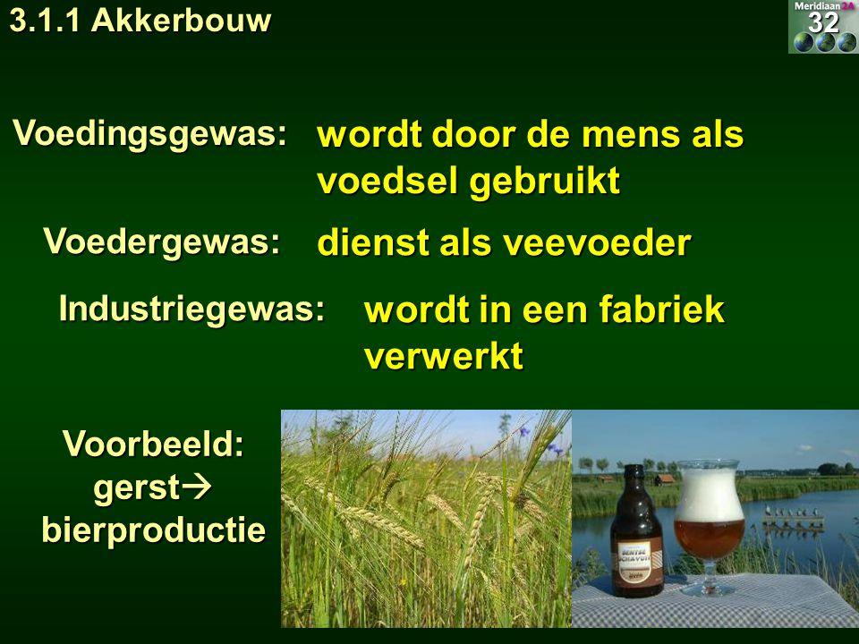 wordt door de mens als voedsel gebruikt Voedingsgewas: Voorbeeld: gerst  bierproductie wordt in een fabriek verwerkt Industriegewas:32 3.1.1 Akkerbou