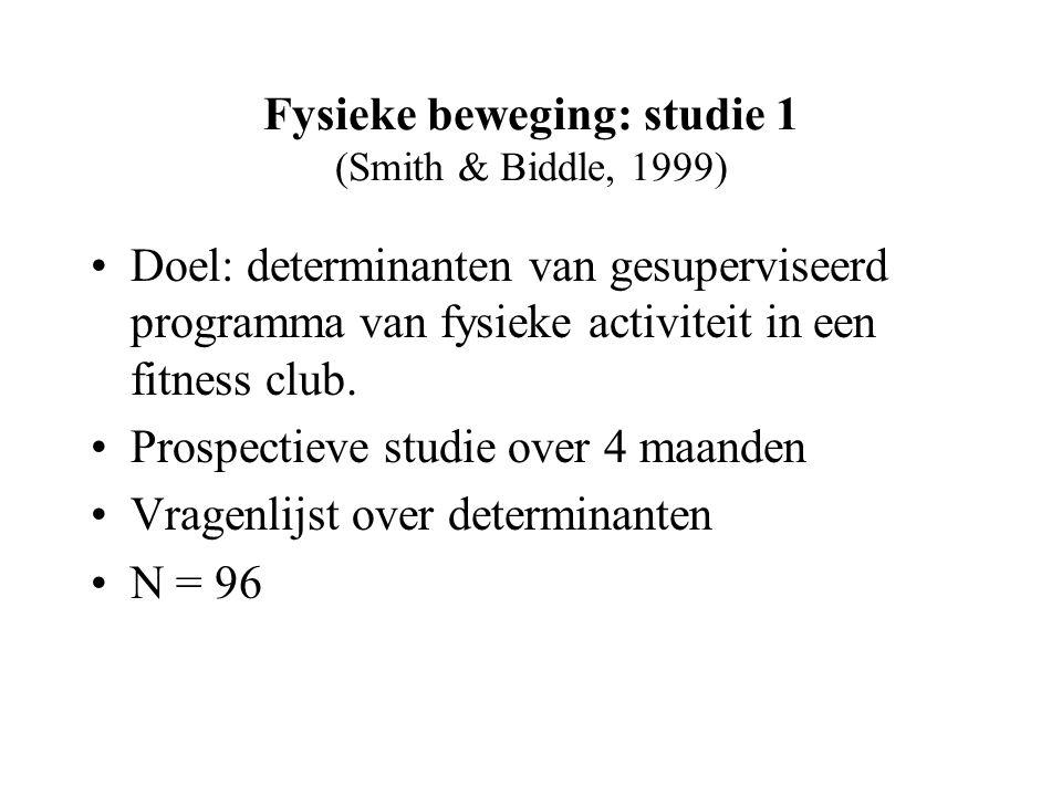 Fysieke beweging: studie 1 (Smith & Biddle, 1999) Doel: determinanten van gesuperviseerd programma van fysieke activiteit in een fitness club.
