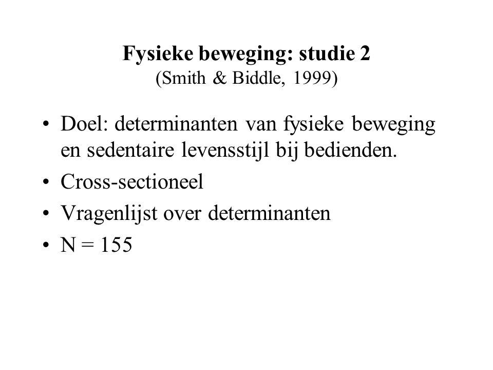 Fysieke beweging: studie 2 (Smith & Biddle, 1999) Doel: determinanten van fysieke beweging en sedentaire levensstijl bij bedienden.