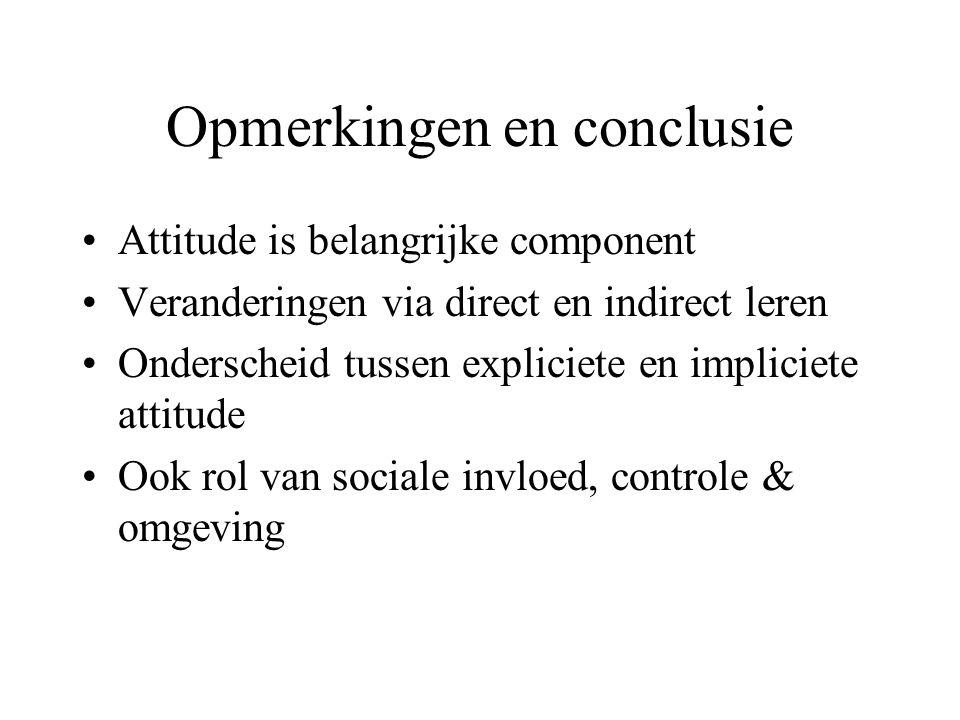 Opmerkingen en conclusie Attitude is belangrijke component Veranderingen via direct en indirect leren Onderscheid tussen expliciete en impliciete attitude Ook rol van sociale invloed, controle & omgeving